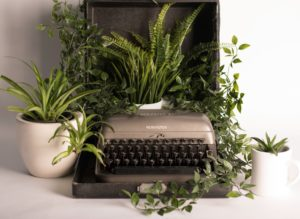 Typewriter with plants wrapped around and sitting on top. Photograph by Shelby Miller.