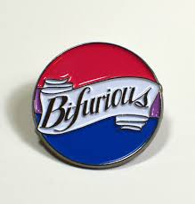 "Enamel pin with bisexual pride flag background and the word ""Bifurious"" in the foreground. Pin handmade by Femmecraft."