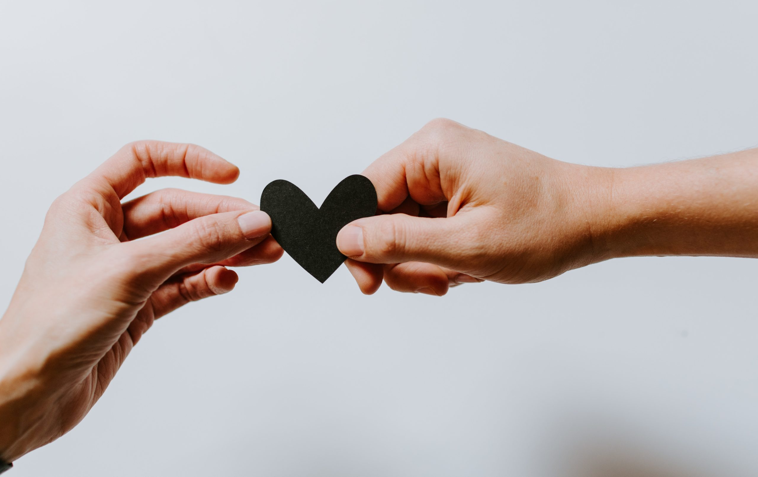Two hands holding a papercut heart. Image by Kelly Sikkema